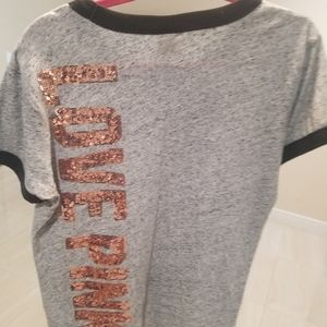 Pink Grey Sequin Jersey T shirt